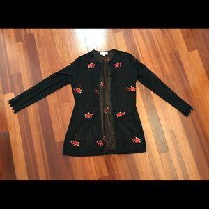 NWOT Cache Mesh Embellished Cardigan